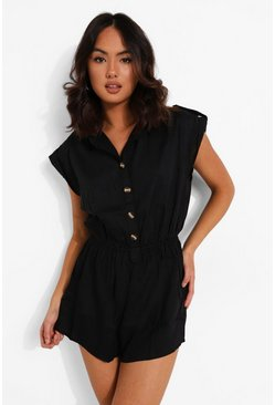 Black Button Down Collared Playsuit