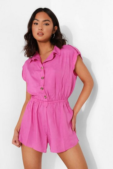 Pink Button Down Collared Playsuit