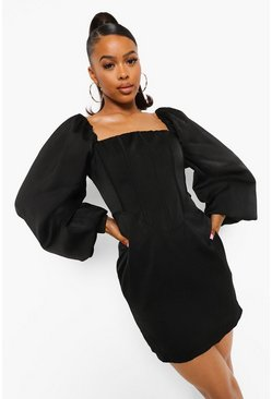 Black Corset Detail Puff Sleeve Mini Dress