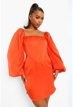 Orange Corset Detail Puff Sleeve Mini Dress