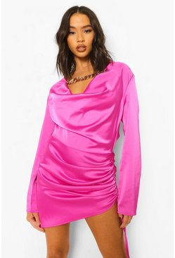Magenta pink Cowl Neck Ruched Side Mini Dress