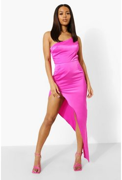 Magenta pink One Shoulder Extreme Split Maxi Dress