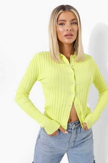 Lime green Rib Knit Collar Cardigan