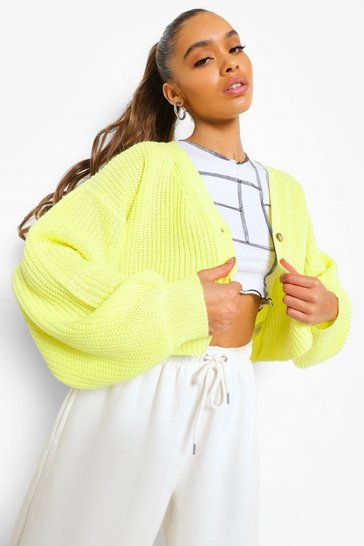Lime green Basic Crop Cardigan