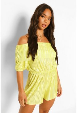 Lime green Plisse Bardot Frill Puff Sleeve Playsuit