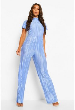 Blue Plisse Wide Leg High Neck Jumpsuit
