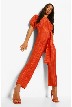 Rust orange Plisse Culotte Belted Jumpsuit