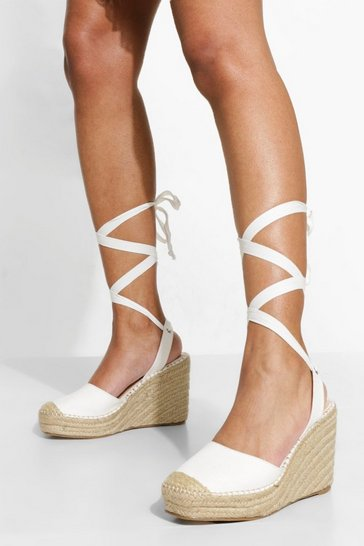 White Wide Fit Closed Toe Wrap Up Wedge