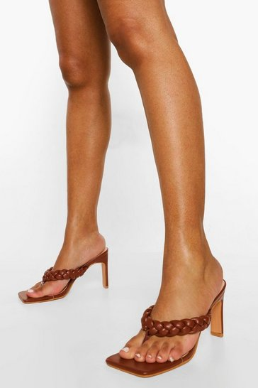 Chocolate brown Wide Fit Square Toe Plaited Toe Post Mule