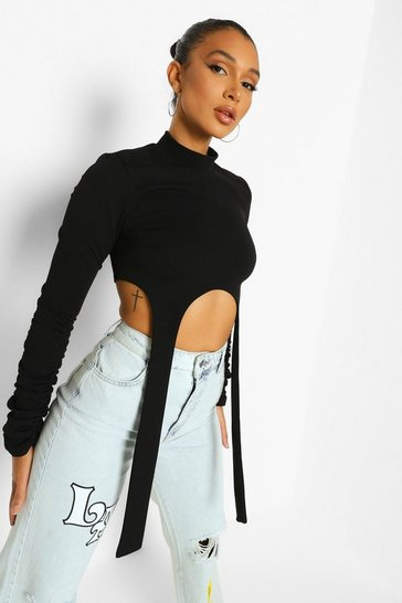 Black High Neck Strap Detail Crop Top