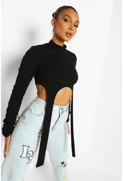 Black Met Hoge Hals Strap Detail Crop Top