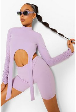 Lilac purple High Neck Strap Detail Crop Top