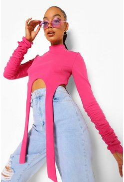 Pink High Neck Strap Detail Crop Top, Rosa