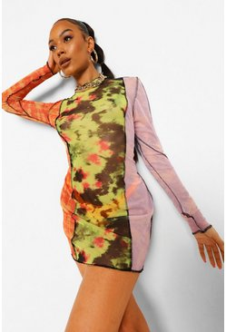 Yellow Tie Dye Panelled Bodycon Dress