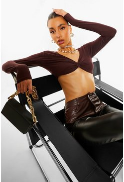 Chocolate brown Twist Detail Long Sleeve Crop Top
