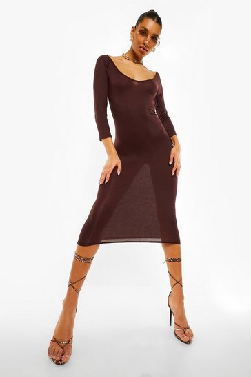 Chocolate brown Off The Shoulder Midaxi Dress