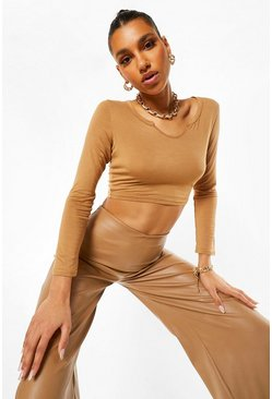 Caramel beige Notch Detail Long Sleeve Crop Top
