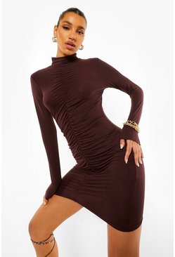 High Neck Rouche Mini Dress, Chocolate braun