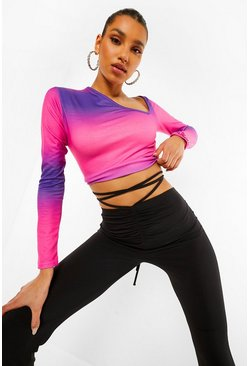 Purple Ombre Print Cut Out Top