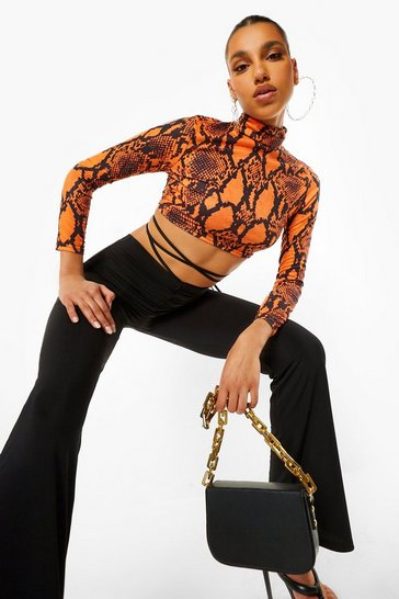 Orange Snake Print Roll Neck Crop Top