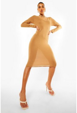 Notch Neck Long Sleeve Midi Dress, Caramel beige