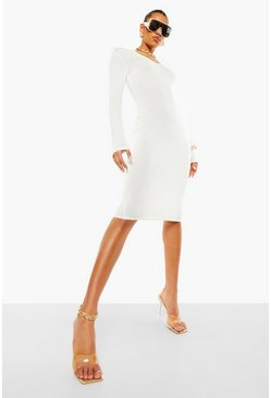 Ivory white Notch Neck Long Sleeve Midi Dress