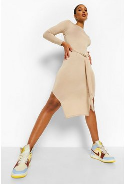 Stone beige Belted Side Split Midi Dress