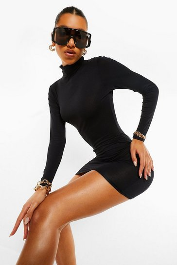 Black Roll Neck Mini Dress
