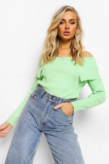 Bright green green Off The Shoulder Rib Knit Jumper