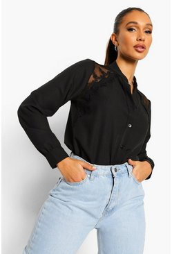 Black Lace Shoulder Blouse
