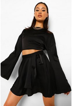 Black Flute Sleeve Blouse & Tie Waist Skirt