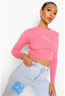 Pink Girls Girls Girls Slogan Rib Knit Top