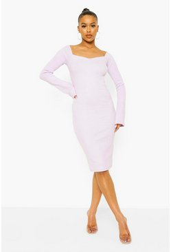 Lilac purple Rib Square Neck Midi Dress