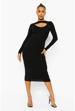 Black Rib Extreme Crop And Midaxi Dress