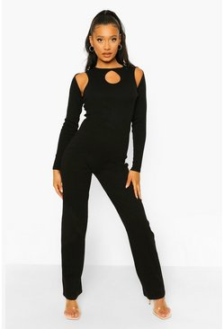 Black Rib Cut Out Wide Leg Jumpsuit