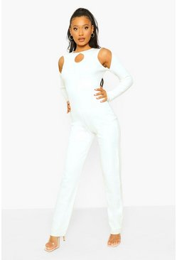 White Rib Cut Out Wide Leg Jumpsuit