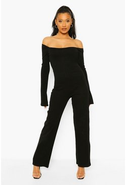 Black Rib Square Neck Wide Leg Jumpsuit