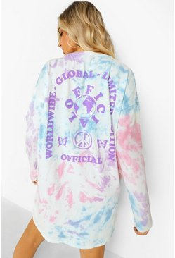 Pink Tie Dye Back Print Long Sleeve T-shirt Dress
