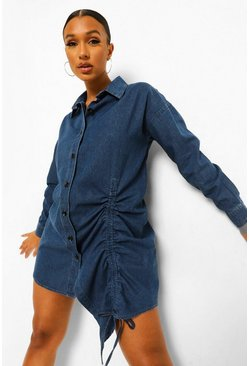 Light blue blue Ruched Denim Shirt Dress