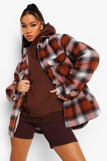 Rust orange Teddy Faux Fur Lined Check Shacket