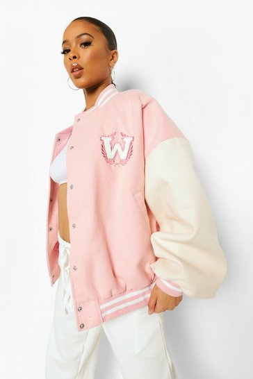 Pink Contrast Sleeve Varsity Jacket
