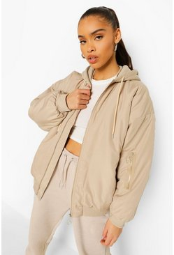 Stone beige Hooded Oversized Bomber Jacket