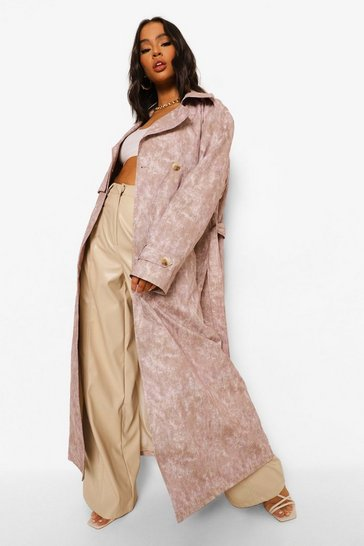 Brown  Woven Printed Tie Dye Trench Coat