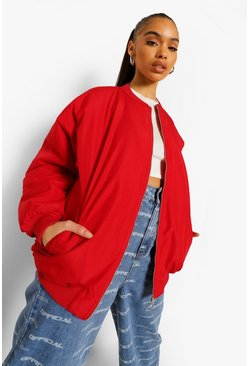 Red Oversized Contrast Lining Bomber Jacket