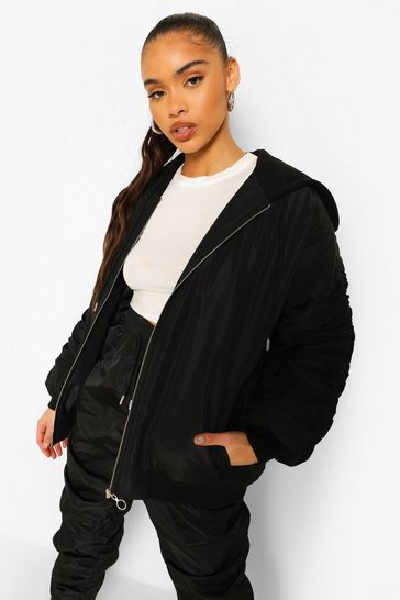 Black Oversized Ruched Sleeve Hooded Bomber Jacket