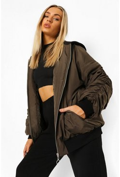 Khaki Oversized Ruched Sleeve Hooded Bomber Jacket