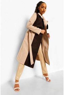 Chocolate brown Colour Block Wool Look Trench Coat