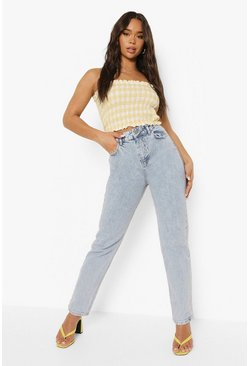 Bleach wash Straight Leg Jeans With Lace Up Bottom Detail