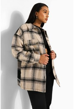 Stone beige Tonal Contrast Padded Check Shacket