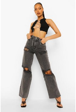 Dark grey grey Acid Wash Extreme Distressed Boyfriend Jean